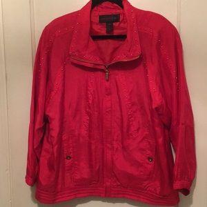 Vintage Red Silk Bomber Jacket